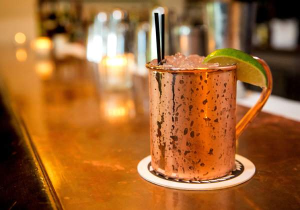 Moscow Mule, also known as a Basil Drop