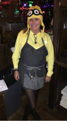 Christine dressed up as a Minion
